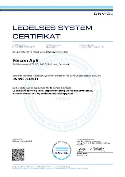 Ledelsessystem ISO certifikat - Feicon ApS