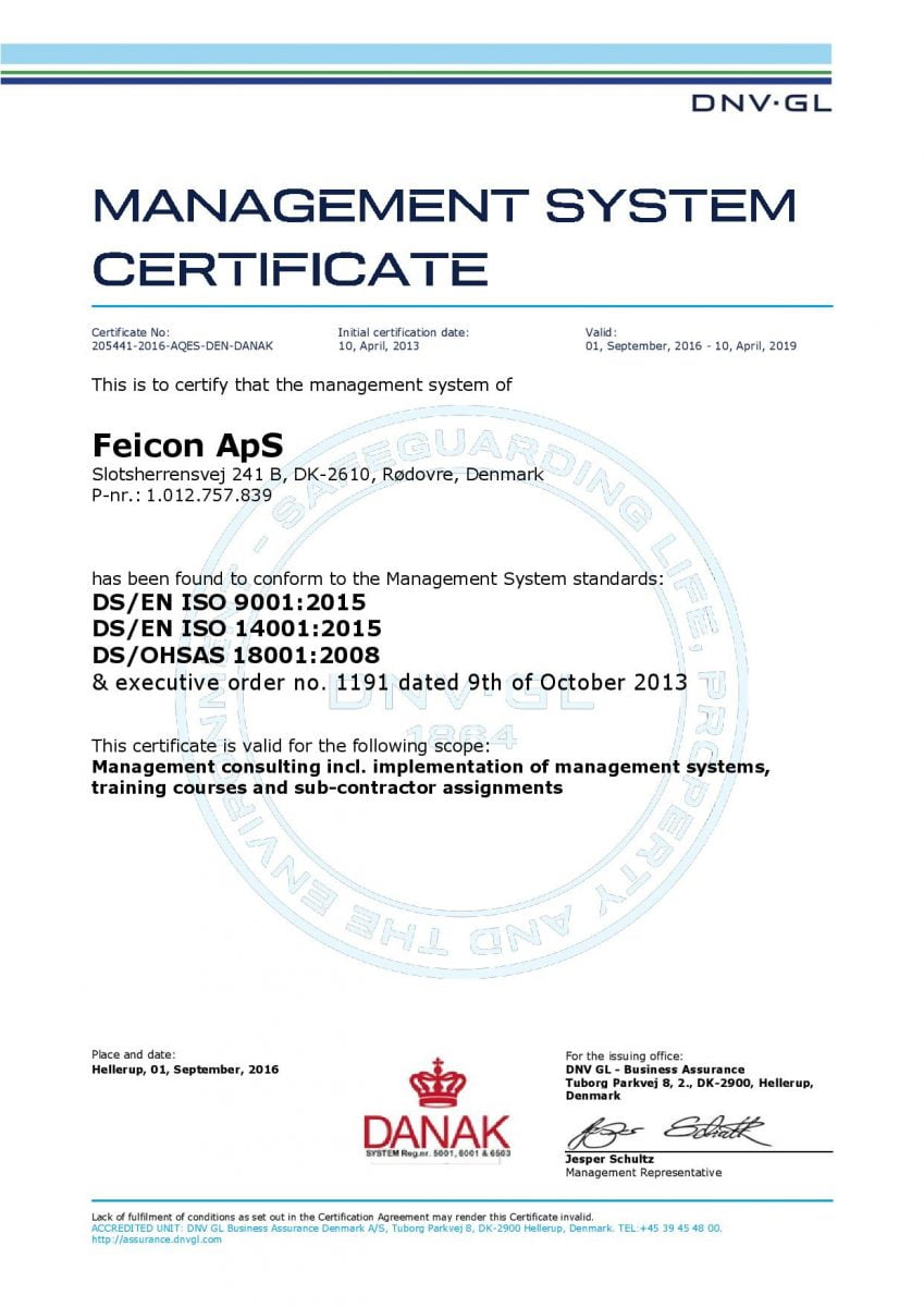 Management system ISO certificate - Feicon ApS
